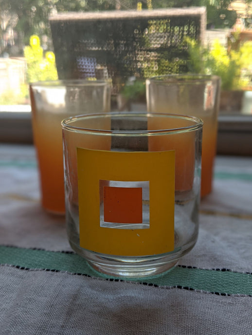 Vintage short mod square drinking glass