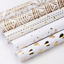"Load image into Gallery viewer, White/Gold ""Foil Triangles"" Wrapping Paper Roll"