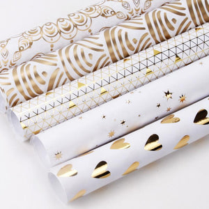 "White/Gold ""Foil Triangles"" Wrapping Paper Roll"