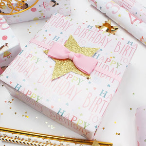 "Birthday Girl ""Happy Birthday"" Wrapping Paper Sheets"