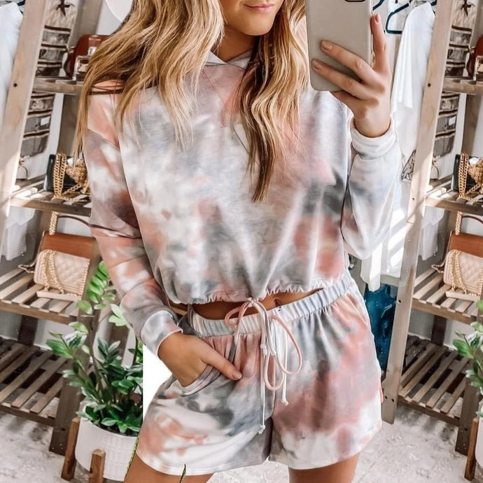 Two-piece tie dye printed short set with hoodie