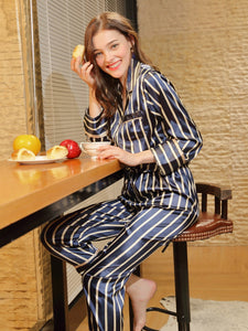 Striped Knot Hem Pajama Set
