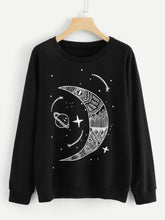 Load image into Gallery viewer, Moon And Star Print Sweatshirt