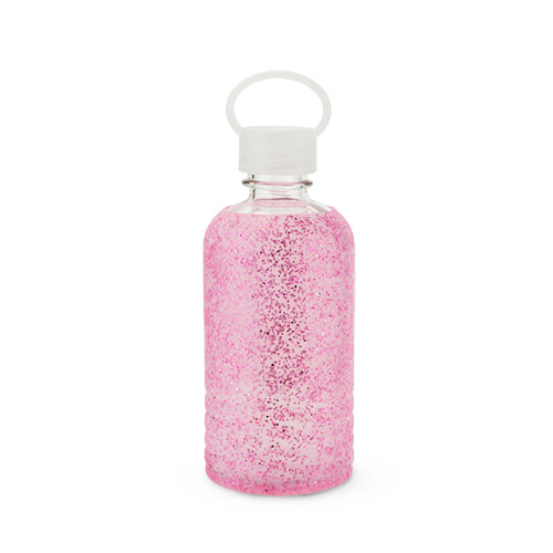 Glimmer: Pink Glitter Silicone Water Bottle by