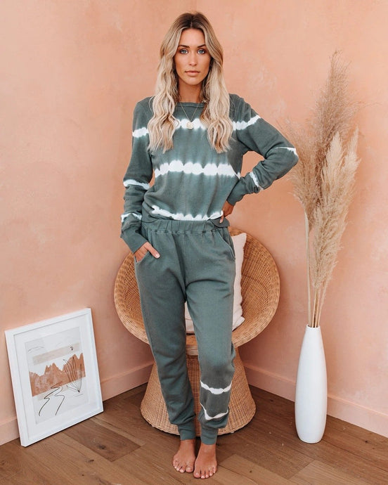 Long Sleeve Loose Tie-Dye Gradient Striped Set