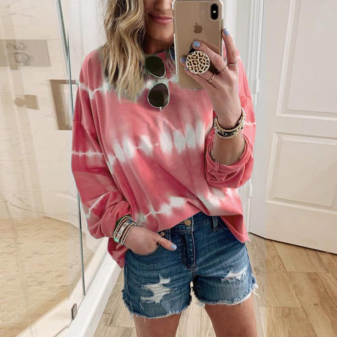 Loose Tie-dye Printed Sweatshirt Tops