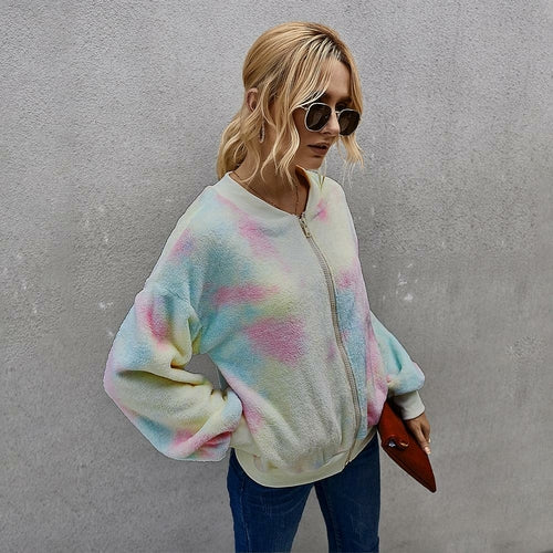 Tie-dye Long Sleeve Women Jacket Coat