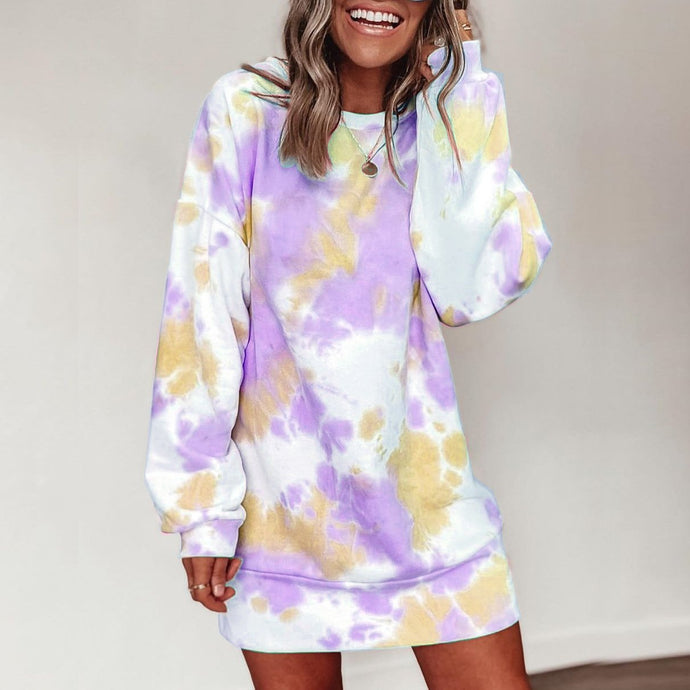 Tie dye Long Sleeve Printed Dress
