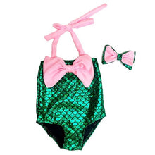 Load image into Gallery viewer, Toddler & Baby Girls Mermaid One Piece Set with Bowknot Headband