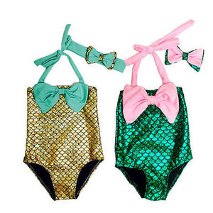 Toddler & Baby Girls Mermaid One Piece Set with Bowknot Headband