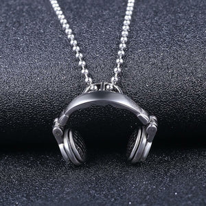 Music Headphones Titanium Steel Pendant