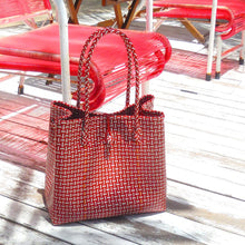 Load image into Gallery viewer, Toko Bazaar Woven Tote Bag - in Red & White