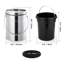 Load image into Gallery viewer, 3L Silver Compost Bin