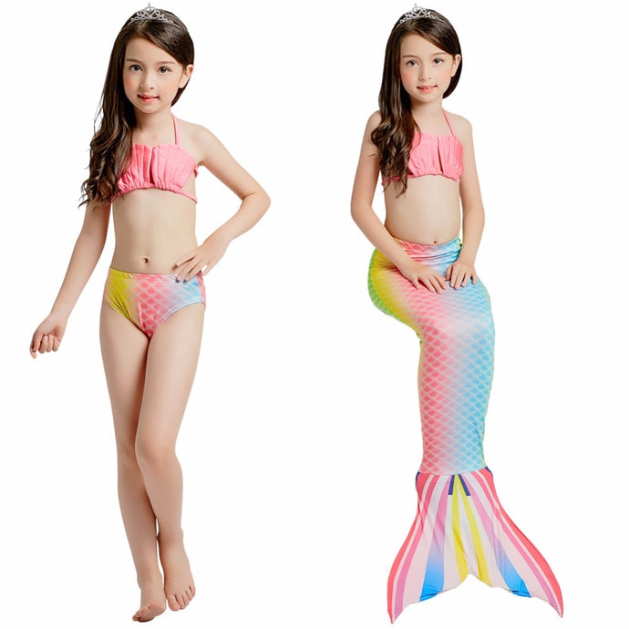 3-piece Costume Kids Little Mermaid Tails for Swimming