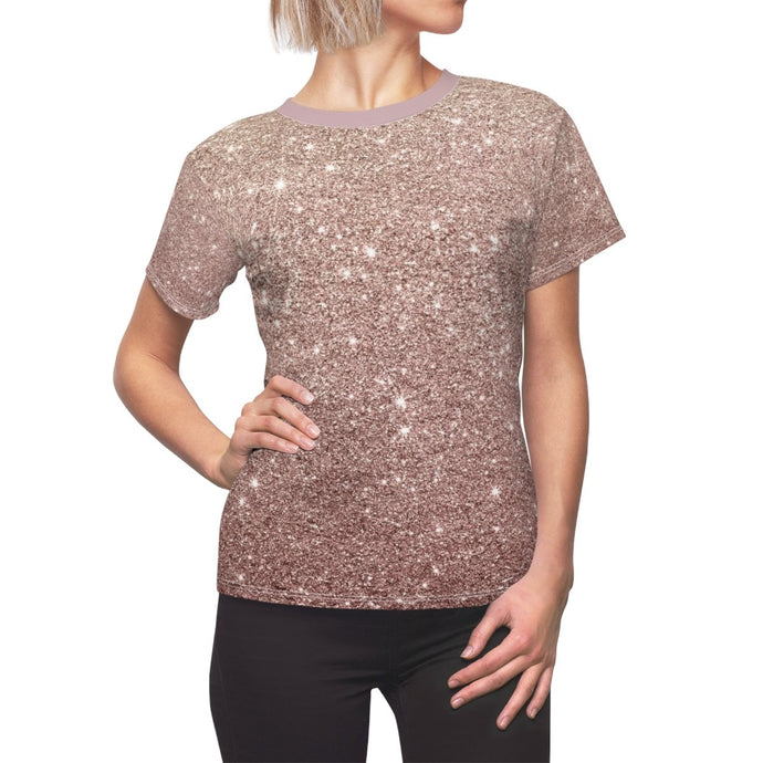 Women's Rose Gold Printed Glitter Top