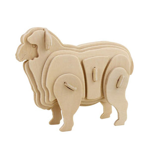 3D Wooden Puzzles Farm Animals - 6 assorted animals