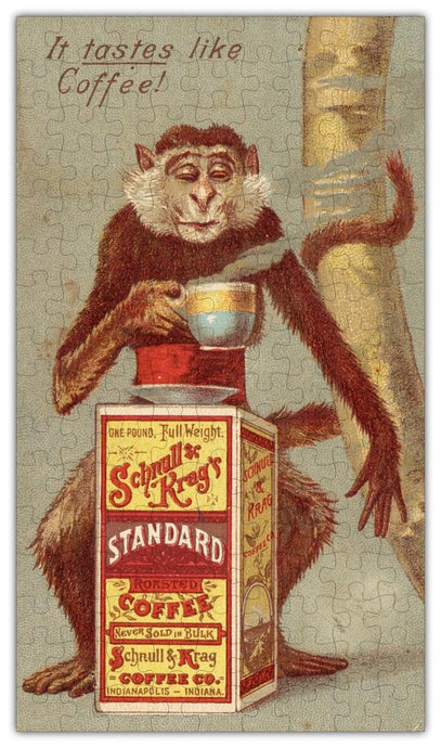 Coffee Ad Monkey Vintage Drawing Jigsaw Puzzle