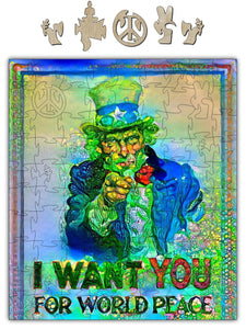 World Peace Uncle Sam Wooden Jigsaw Puzzle