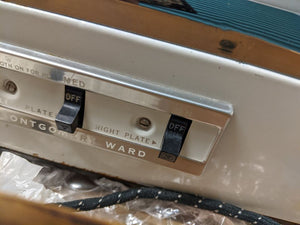 Vintage Portable Electric Montgomery Ward Stove in a wooden case: 2 burner 60's