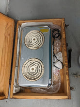 Load image into Gallery viewer, Vintage Portable Electric Montgomery Ward Stove in a wooden case: 2 burner 60's