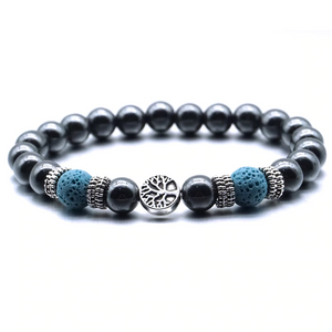 Blue Tree of Life Lava Stone Metal Bracelet