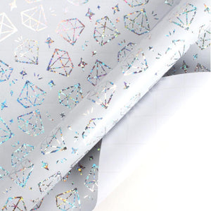 "White/Silver Halo Foil ""Diamonds"" Wrapping Paper Roll"