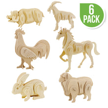 Load image into Gallery viewer, 3D Wooden Puzzles Farm Animals - 6 assorted animals