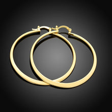 "Load image into Gallery viewer, 2"" Flat Hoop Earrings in 18K Gold Plated"