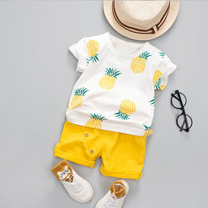 Pineapple T shirt and Solid Short Set
