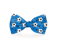 Load image into Gallery viewer, Soccer Balls Sports Dog Bow Tie Blue