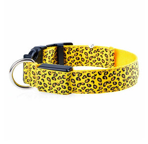 Fashion Leopard Adjustable Led Dog Collar