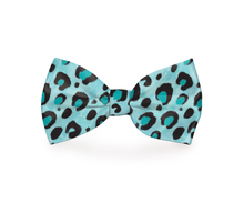Load image into Gallery viewer, Blue Cheetah Print Dog Bow Tie
