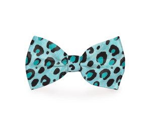 Blue Cheetah Print Dog Bow Tie