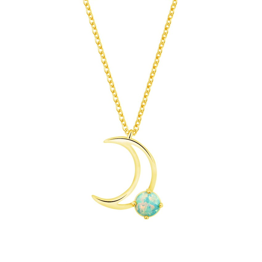 Delicate Crescent Moon Pendant Necklaces With Blue