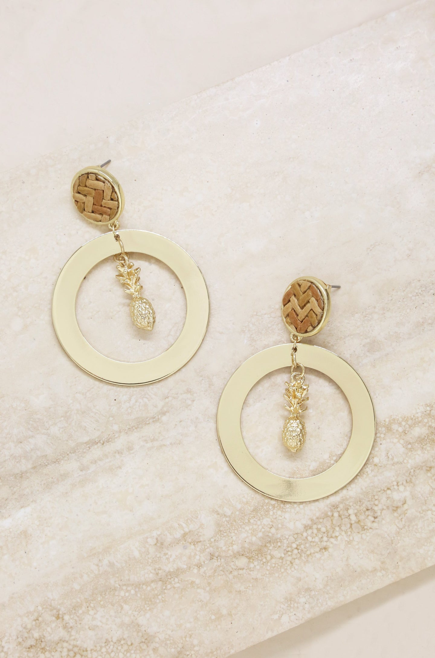 Pineapple Hoops in Gold