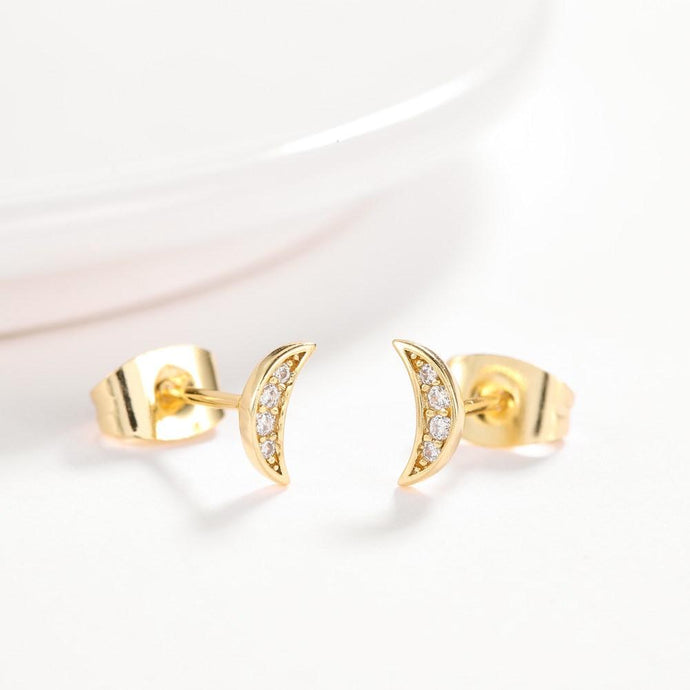 Cresent Moon Pave Stud Earring in 18K Gold Plated with Swarovski