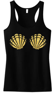 Seashell Cotton Racerback Tank Top in Black