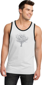 Grey Tree of Life 100% Cotton Ringer Yoga Tank Top