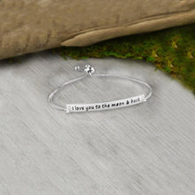 Load image into Gallery viewer, I Love you to the Moon & Back Silver Plated Bracelet