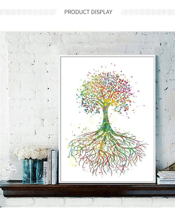 Life Tree P Watercolor Impression Home Decor Wall Picture Nordic Canvas Painting Print Poster Living Room Colorful Picture