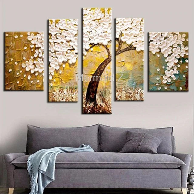 Hand Painted Modern White Gustav Klimt Tree Of Life Abstract Oil Painting On Canvas Picture 5 Panel Wall Art Home Decor