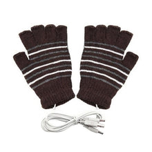 Load image into Gallery viewer, Heated Knit Half Finger Gloves with USB plug