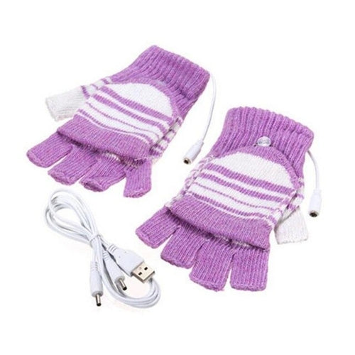 Heated Knit Half Finger Gloves with USB plug