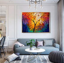 Load image into Gallery viewer, High Still Handmade Wall Art Decorative Calligraphy Colorful Life of Tree Picture Hand Painted Palette Knife Canvas Oil Painting