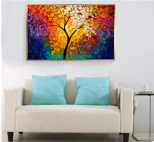 High Still Handmade Wall Art Decorative Calligraphy Colorful Life of Tree Picture Hand Painted Palette Knife Canvas Oil Painting