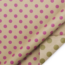 "Load image into Gallery viewer, Modern Geometric Kraft Beige/Magenta ""Polka Dots"" Wrapping Paper"