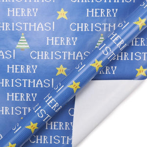 "Blue/Multi Retro Pixel ""Xmas Trees"" Wrapping Paper Sheets"
