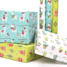 Load image into Gallery viewer, Cactus Pom Pom Xmas Wrapping Paper Sheets White/Green Multi 4