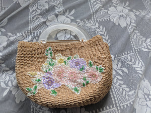 Vintage Timmy Woods Beverly Hills Woven Straw Handbag: Lucite handle, floral beading & sequins