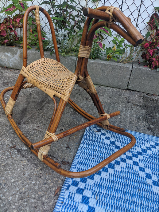 Vintage Wicker and Bamboo Rocking Horse